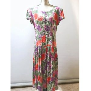 Maggy London Green Purple Floral Button Up Dress